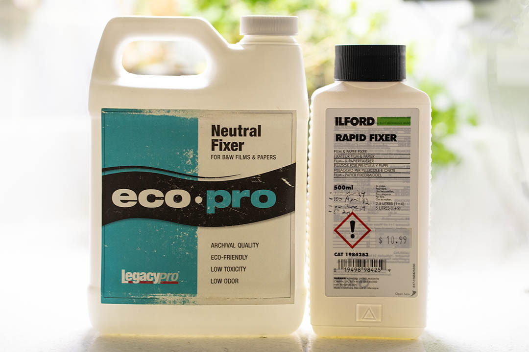 Ilford Rapid Fixer and Eco-Pro Neutral Fixer side by side.