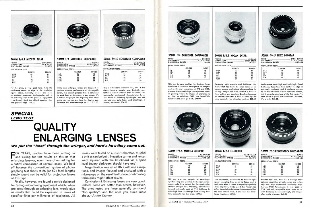 A catalogue image of enlarger lenses