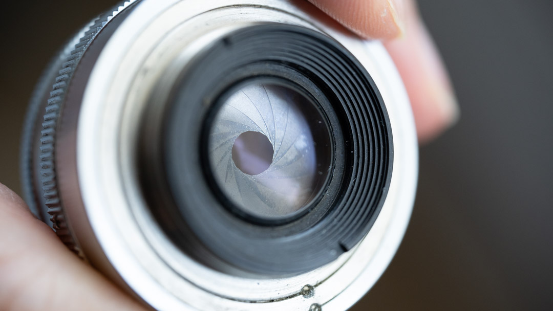 An enlarger lens with the aperture closed down
