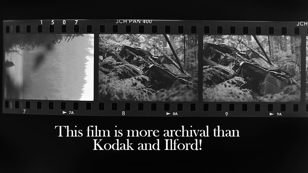 A photo of an inverted roll of film with the text, this film will last longer than HP5 and Tri-X