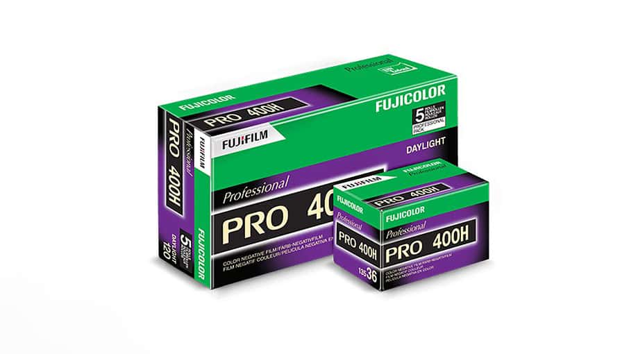 Boxes of Fuji Pro 400H in both 120 and 135 formats