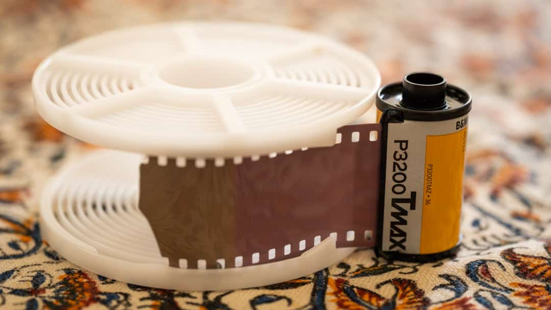35mm film pre-spooled onto the Paterson reel