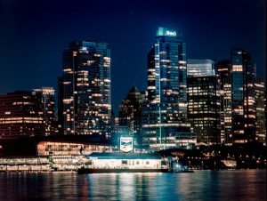 Vancouver skyline at night from Stanley Park